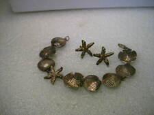 """Vintage Sterling Silver Seashell Link Bracelet & Pierced Earring Set, 7"""", 22.21g"""