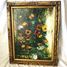 Vintage Flowers in a Vase Ornate Wood Framed Oil Painting Signed J Krafft