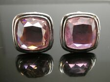 ROSS SIMONS Pink Faceted Cubic Zirconia Sterling Silver 925 Clip On Earrings