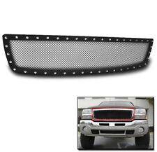 GMC 2003-2006 SIERRA 1500 BLACK UPPER STAINLESS STEEL RIVET MESH GRILLE INSERT