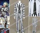 Beetlejuice Cosplay Betelgeuse Michael Keaton Costume Stripes Suit Hot Sale New