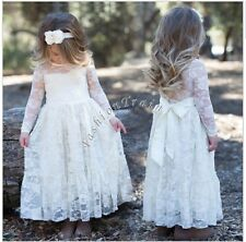 Lace Flower Girl Pageant Party Princess Bridesmaid Wedding Tulle Dress Size 8-10