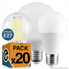 20 LAMPADINE LED attacco E27 9W a 20W Lampadina Goccia Bulbo Filamento Globo