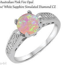 Round Pink Fire Opal with Micro Pave Clear CZ Sterling Silver Ring