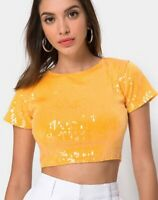 MOTEL ROCKS Tindy Crop Top in Tangerine with Clear Sequin Large L   (mr40)