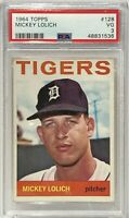 1964 Topps #128 Mickey Lolich PSA VG 3 Detroit Tigers Rookie Card