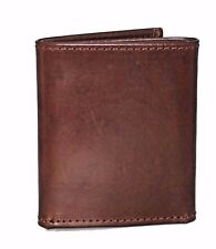 Men genuine Brown leather trifold wallet credit card slots ID window made in USA