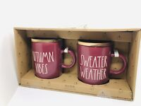 Rae Dunn Fall By Magenta AUTUMN VIBES, SWEATER WEATHER Burgundy Mug w Wooden Lid