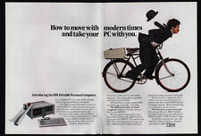 1984 IBM PC/XT Portable PCjr Computer Bicycle - CHARLIE CHAPLAIN  2pg VINTAGE AD