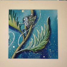 'Elfin' Original gouache mini painting with mount, Elf, Fairy
