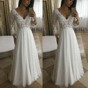 Long Sleeves Beach Cheap Wedding Dresses Lace Chiffon Sexy V-neck A-Line Gown