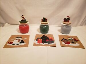 Soy Candle Gift Set in Christmas Scents w/ Holiday Toppers & Gift Bags, 3 Scents