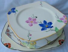 FOUR  VINTAGE CERAMIC SNDWICH/CAKE PLATES  PLATTERS TUNSTALL WOODS CROWN DUCAL