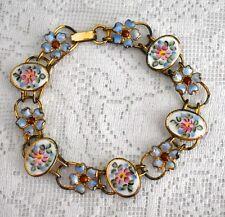 Stunning Vintage Feminine STERLING Enamel Guilloche Floral Bracelet BEAUTIFUL!!!