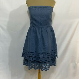 Ya Los Angeles Womens Blue Floral Strapless Back Fit & Flare Dress Size Medium