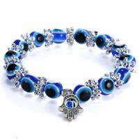 Fashion Blue Turkish Evil Eye Bead Protection Bracelet Bangle Good Luck Hand Hot