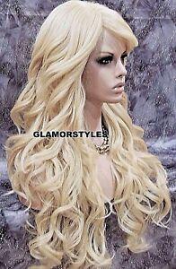 Human Hair Blend Full Wig Long Wavy Bangs Layered Bleach Blonde #613 NWT