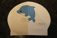 New in Bag AQUALIS Kids Junior WHITE with BLUE DOLPHIN Latex Swim Cap - Swimming