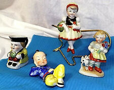 Occupied Japan 4 Figurines ( Asian reclining 2 girls 1 w/cat Mug with handle) GD