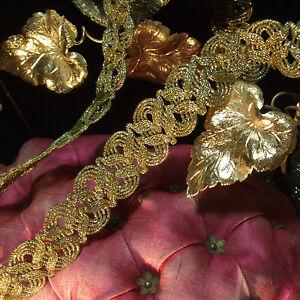 "Antique vintage gold metallic braid lace trim scalloped ribbon lamp shade 1""wide"