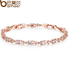 Luxury 18K Rose Gold Plated Chain Bracelet for Women Cubic Zircon Crystal Shine