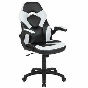 Flash Furniture X10 Gaming Chair Racing Office with Flip-up Arms,White/Black NEW