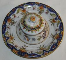 FRENCH INKWELL GLAZED POTTERY HAND PAINTED DESVRES 19TH CENTURY