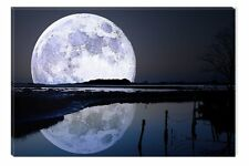 Full Moon Water Reflection Wall Art Print Glow in Dark 31.5 X 47.2 Inch