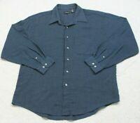 Van Heusen XL 17.5 Dress Shirt Long Sleeve Mans Button Front Blue White Striped