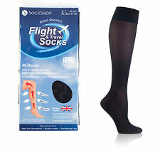2 pairs 40 Denier Compression DVT Flight / Travel Socks 4-7uk 37-41eur Black