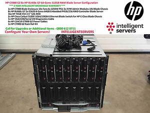 HP C7000 G2 8x HP BL460c G7 E5620 64-Cores 512GB RAM Blade Solution