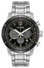 Citizen Eco-Drive Men's Brycen Chronograph Yellow Accents 44mm Watch CA4358-58E