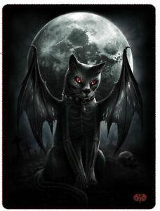 Fleece Decke Vamp Cat Katze Zombie Vampir Batcat Gothic Kuscheldecke