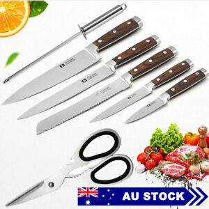 Wooden Handle Kitchen Knife 7pc Set  Knives Stainless Steel Scissor Tool