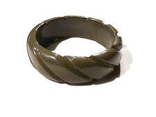 Bijou bracelet tendance jonc lucite crénelé vintage vert bangle