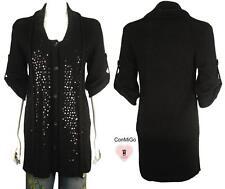 ConMiGo 655 Angora Long Sleeve Sequin Cardigan - Black