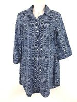 Dana Buchman Top Tunic Sz Medium Blue Black 3/4 Sleeve Cuff Button Front Blouse