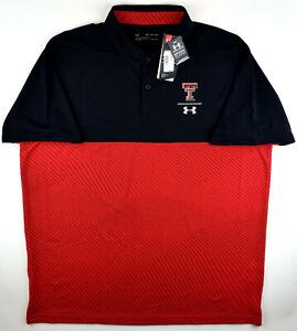 Under Armour Texas Tech Red Raiders Basketball Black Red Golf Polo Shirt Men's