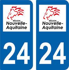2 autocollants style immatriculation auto Département 24 NOUVELLE AQUITAINE