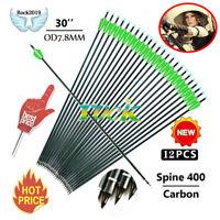 12PCS 30inch spine 600 carbon shaft bolts arrows archery compound recurve bow