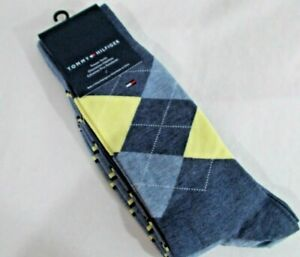 NWT TOMMY HILFIGER TROUSER SOCKS 2 PAIR Crew BLUE ARGYLE / STRIPED   Mens 6-10.5