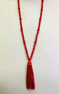 """KENNETH JAY Lane Palm Beach Party 33"""" Red Tassel & Pave Necklace Retail $199"""