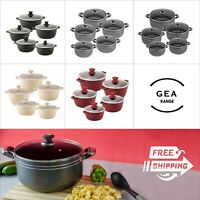 5pc Casserole Non Stick Stockpot Cooking Pot Pan Set Cookware With Glass Lid Top
