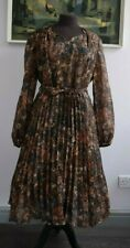Retro Dress Shades of Brown Floral Canda International Belted Fit and Flare