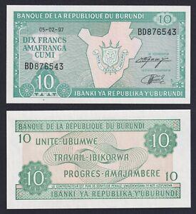 Burundi 10 francs 1997 FDS/UNC  B-06