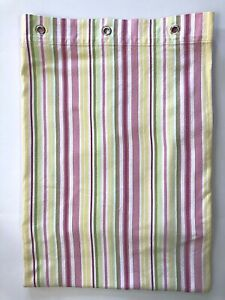 Pottery Barn Kids Shower Curtain 72x72 Striped Grommets Pink Yellow Green Bright