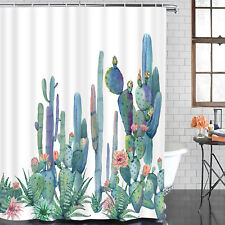 Art Cactus Fabric Shower Curtain Waterproof Polyester Fabric & Hooks Bathroom