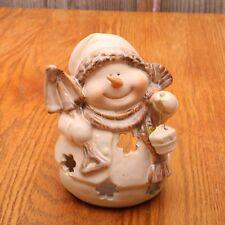 Porcelain Snowman Figurine  Candle Holder Votive Tea Light