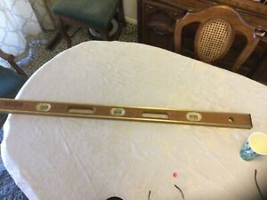 "Vintage Used 48"" Stanley Brass and Wood Level  Etched Logo"