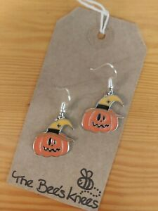 Halloween pumpkin holidays enamel charm handmade earrings silver earwires hook